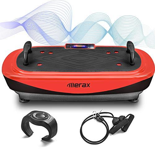 Profi Vibrationsplatte 4D Vibrationsplatte, mit 3 leisen Motoren,LED-Display, Schlaufenbändern, Push-up-Griffe, Fernbedienung, Bluetooth Lautsprecher,Trainingsbänder (Schwarz &Rot)