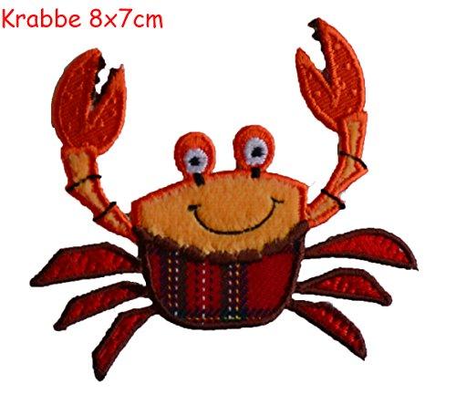 Krabbe 8 x 8 cm opstrijkapplicatie stof patch kleding opnaaien strijkafbeelding om op halsdoek wimpel rugzak tas hoed sjaal jeans jas kussen deurplaat deken broek vlag hemd kleding pet rock T