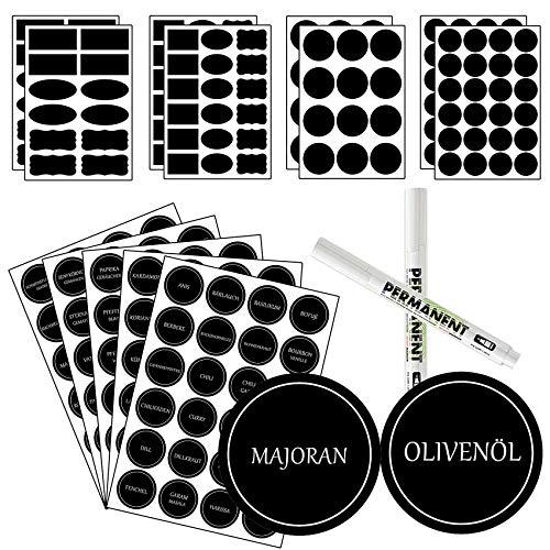 COOLUCK Gewürzetiketten selbstklebend, 252 Schwarze Beschriftungsetiketten selbstklebend mit 2 Stift, Rund - Wasserfest - Gewürze Etiketten - Aufkleber zum beschriften - 40x40mm