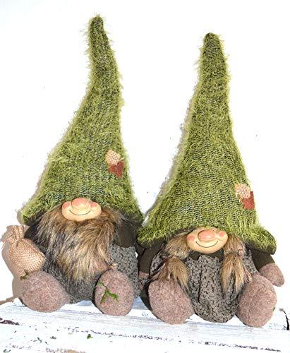 Jürgen Schleiß Konfektion Deko Figur Wichtel Gnom Zwerg grün mit Bart Mann, Textil grau, 43cm, Weihnachtsdeko Herbst Weihnachtswichtel Dekofigur Winter Weihnachten sitzend