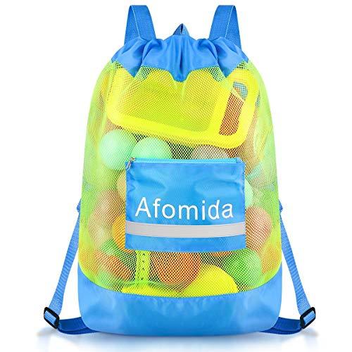 Afomida Sandspielzeug Netztasche Strandspielzeug Tasche Strandtasche Große Wasserspielzeug Bälle Kordelzug Rücksack für Kinder Jungen Mädchen Badetasche für Familie Urlaub, Spielzeug Nicht Enthalten