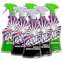 Cillit Bang - Spray Limpiador Suciedad y Manchas de Humedad, para Baños y juntas negras + Spray Quitagrasas, para cocinas - Pack 6 x 750 ml
