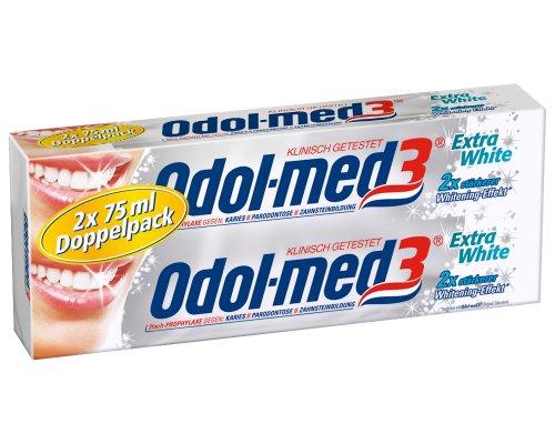 Odol med 3 Extra White Zahncreme, 75 ml, 2-er Pack (2 x 75 ml)