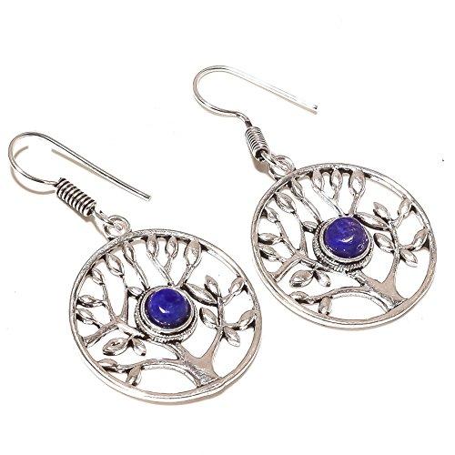 ¡Fabuloso ¡Gemas de lapislázuli azul ¡Exótico Pendientes colgantes de 2'de largo chapados en plata hechos a mano. ¡Joyería de Shivi