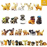 Mini Plastic Puppy Dog Figurines for Kids - 28 Pack High Imitation Detailed Hand Painted Realistic Small Dog Figurines Toy Set