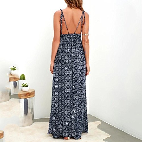 AIEason Women's Summer Boho Casual Long Maxi Evening Party Beach Dress Sundress Navy