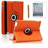 AiSMei Case for iPad 4 (2012), Rotating Stand Case Cover for 9.7'' Apple iPad A1395, A1396, A1397, A1403, A1416, A1430, A1458, A1459, A1460, Bonus Stylus Film, Orange