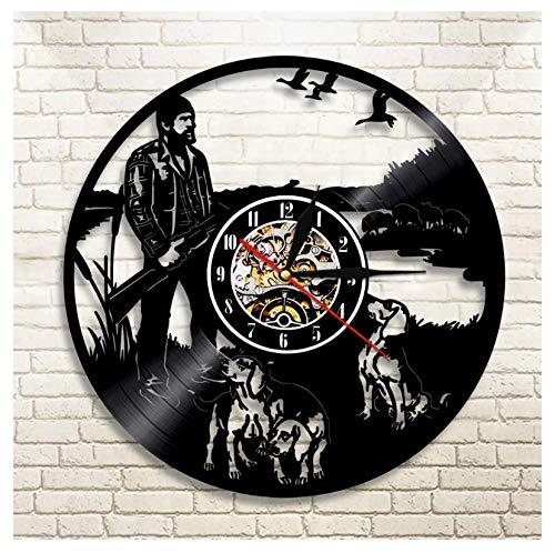 Liushenmeng Reloj Disco de Vinilo Rifle de Cazador Reloj De Pared Vintage Accesorios De Decoración Reloj De Vinilo Colgante Reloj De Pared Reloj Único Idea de Regalo diámetro 30 cm