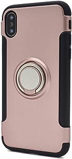 Apple iPhoneX スマホリング ホルダー付き ハード スマホケース [ピンク] アップル スマホカバー スマートフォン 落下防止 スタンド クール ワイルド