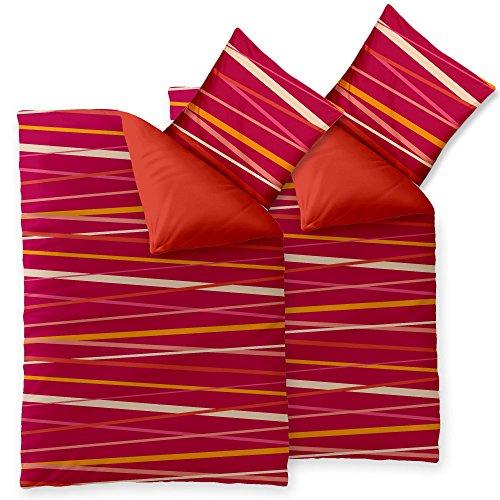 CelinaTex Harmony Bettwäsche 155 x 220 cm 4teilig Mikrofaser Bettbezug Selena Streifen Orange Pink Weiß