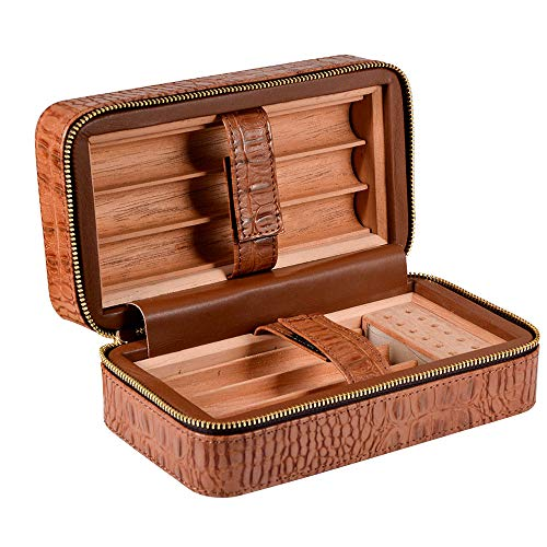 AXIANQI Mini Sigarenvocht, draagbaar voor bruin reizen, bank of terras, 6-delige cederhouten pallet, luchtbevochtiger en Hygrometer BRON
