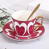 Taza de café con platillo Taza y platillo de cerámica Set Tarde de té taza de porcelana de té Juego de Tazas y platillo cucharadita Conjunto del modelo del corazón Familia comedor, sala de estar