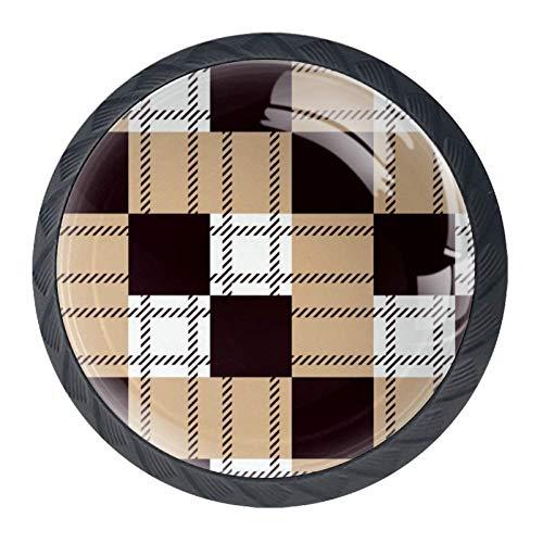 Pomelli rotondi per cassetti, 4 confezioni da 35 mm, con motivo a bufalo giallo e nero, utilizzati...