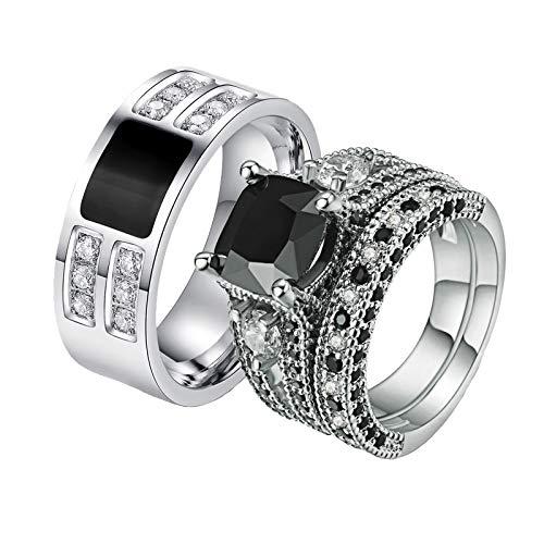 ANAZOZ 2 Stück Damen Herren Verlobungsring Edelstahl Vergoldet 8mm Breit Luxus Diamantring Schmuck Paar Ringe Eheringe Trauringe Hochzeits Silber Luftmatratze Frau:54 (17.2) & Mann:67 (21.3)