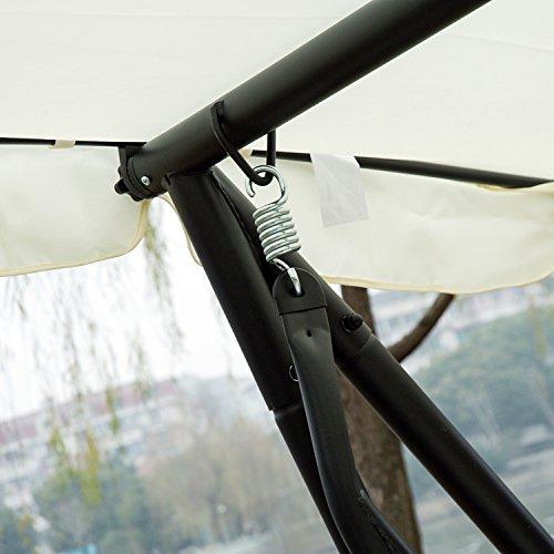 Outsunny Hollywoodschaukel Gartenschaukel 3-Sitzer Liegefunktion Stahl Creme 200x120x164cm - 8