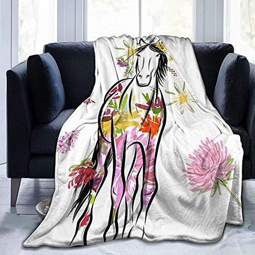 DWgatan Couverture,Couvre-lit de canapé Polyvalent Doux et Chaud de qualité Colored Flowers and Horse Printed Blanket for Bedroom Living Room Couch Bed Sofa -60\
