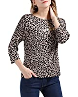 """MOONICE Womens Leopard Printed Blouse 3/4 Sleeve Shirt Tops with Gold Foil Print """"Exciting"""" (Leopard Printed, XXL)"""