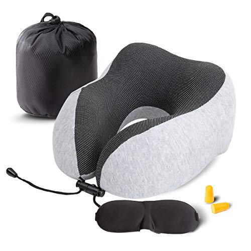 Travel Pillow Memory Foam Neck Pillow U Type Comfortable Portable Pillow for Airplane, Train, Car, Home, Office Use, with Sleeping Mask,Earplugs and Pouch