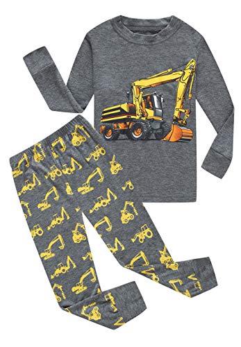 Family Feeling Excavator Little Boys Long Sleeve Pajamas Sets 100% Cotton Pyjamas Kids Pjs Size 5 Grey