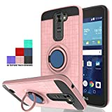 Wtiaw Compatible with LG K7 Case,LG Tribute 5 Case,LG Treasure LTE Case,LG K8 Case(2016),LG Escape 3 Case,LG Phoenix 2 Case,360 Degree Rotating Ring Kickstand Case for LG K7-CH Rose Gold