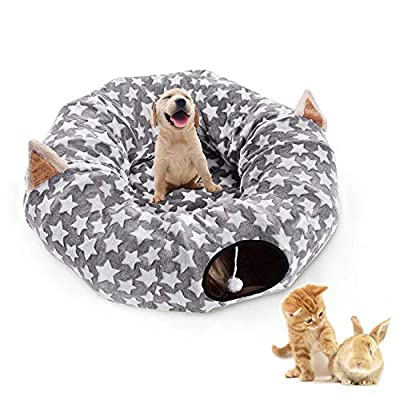 Large Cat Dog Tunnel Bed with Washable Cushion-Big Tube Playground Toys Plush 6 FT Diameter Longer Crinkle Collapsible 3 Way,Gift for Small Medium Large Kitten Puppy Rabbit Ferret Outdoor Grey Gray from Chengyu