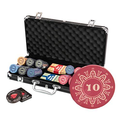 CHIPS Juego de la Viruta Fichas de 300 Piezas Juego de Póquer Estilo Dados con Fichas de 10g con Estuche de Aluminio para Juegos de Azar Texas Holdem Blackjack