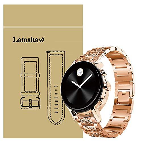 LvBu Damen Edelstahl Bracelet Kompatibel für Movado 2.0, Kristall Rhinestone Diamant Uhrenarmband für Movado Connect 2.0 Smartwatch 40mm/42mm (Roségold)