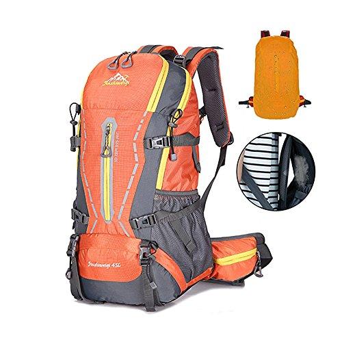 [HUAZHI]登山リュックザック 45L アウトドア サック バックパック スポーツバッグ 通気性 蒸れにくい 大容量 防水 軽量 多機能 旅行 男女兼用 防水カバー付属 豊富な収納ポケット 登山リュック オレンジ