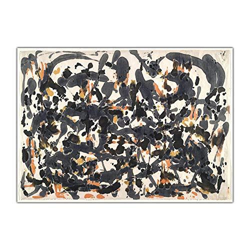 WJWGP Jackson Pollock Ohne Titel Abstrakte Leinwand Bild WeltberüHmter Expressionismus Poster Kunstdruck Moderne Wanddekoration Bilder Inneneinrichtung 50x70cm Kein Rahmen