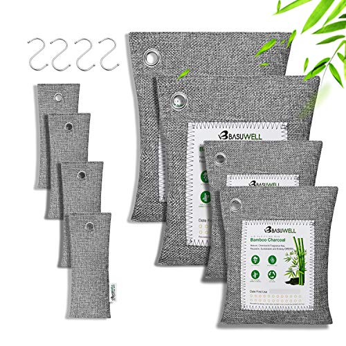 Charcoal Air Purifying Bags 100% Bamboo Activated Charcoal Air Purifier and Air Freshener Eco-Friendly, 8pcs, 2 x 200g, 2 x 100g, 4 x 50g