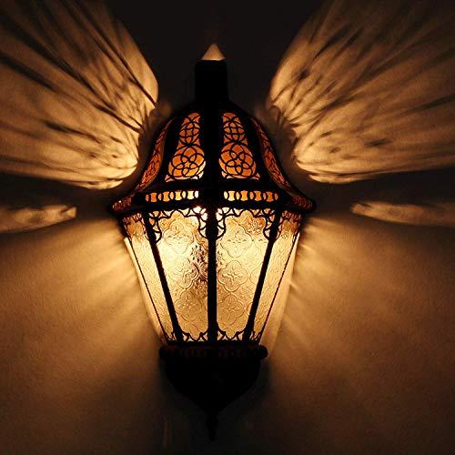 Casa Moro marokkanische Wandlampe Beluti Weiss Höhe 40 cm x Breite 22 cm aus Meltall & Relief-Glas | Kunsthandwerk aus Marrakesch | Schöne Wandbeleuchtung & Dekoration | L1552