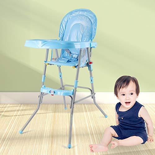 OUkANING Faltbarer Baby-Hochstuhl, tragbar, hoher Fütterungssitz für Kleinkinder, Tisch, Stuhl, Tisch, Sicherheitsgurt, Blau