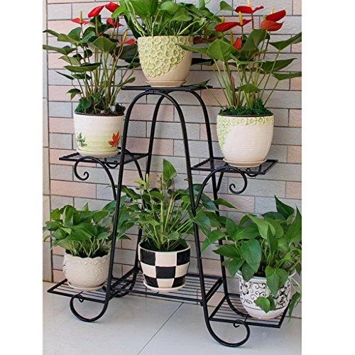 Six couches de supports à fleurs fer à plusieurs étages porte-fleurs vert radix laqué balcon fleur étage étagère salon intérieur plancher fleur pot rack (Couleur : Noir)