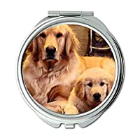 ミラー、コンパクトミラー、動物猫子猫犬黄金犬ダウンロード、ポケットミラー、1×2倍