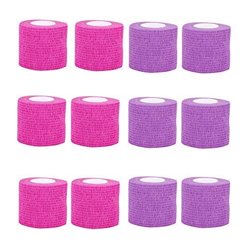 VideoPUP Tattoo Grip Cover Wrap,12PCS Disposable Cohesive Tattoo Grip Cover Elastic Bandage Handle Grip Tube for Tattoo Machine Tattoo Grip Accessories(Phosphor Pink+Purple)