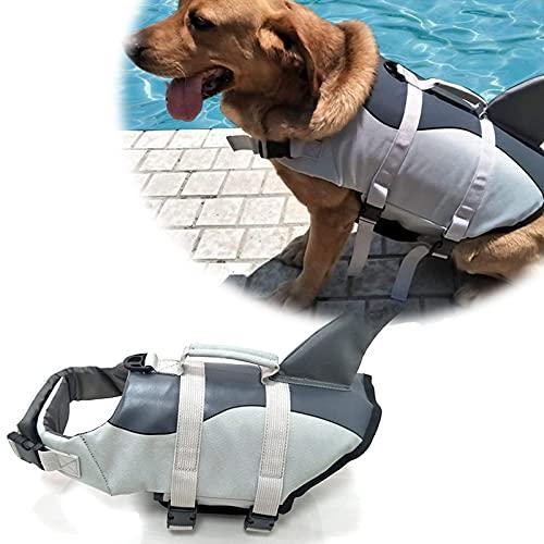 CKEBZPI Shark Dog Safety Life Jacket Vest, Adjustable Safety Floatation Dog Life Vest Preserver for Swimming Boating Beach Playing, Safety Lifesaver with High Buoyancy and Lift Handle (Silver,XS)