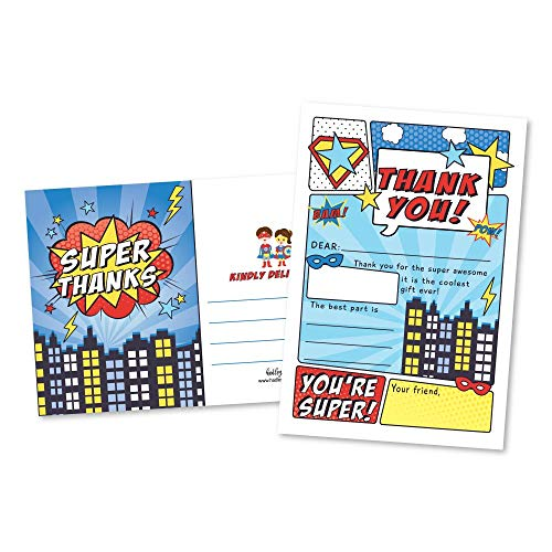 25 Superhero Comic Fill In The Blank Kids Thank You Cards, Hero Bam Themed Girls and Boys Bday Party Note Cards, Unique Adult or Children Birthday, Baby or Bridal Shower Event Supplies and Ideas