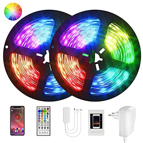 Ruban Led, Lumière Led 10M Ruban APP Bluetooth Bande Led RGB Lumiere chambre Led Couleur Dimmable Contrôle par Application, lumieres Décoration chambre bande RGB Bluetooth pour Mur,Escaliers