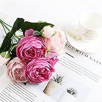 ドライフラワー 1バンドルシルク牡丹ブーケホーム装飾アクセサリーウェディングパーティースクラップブックの偽物植物ポンポン人工バラの花 絶妙な (Color : Light rose)