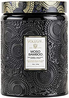 Voluspa Moso Bamboo Large Embossed Glass Jar Candle, 16 Ounces
