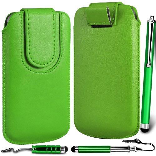 N4U ONLINE Premium PU-Leder Flip Pull Tab Hülle Tasche mit Magnetbandverschluss & 3-Pack Stylus B&le für Huawei Ascend Y300 - Grün