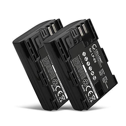 CELLONIC 2X Batteria Compatible con Canon EOS 5D Mark II III IV EOS 5DS EOS 60D 6D Mark II EOS 70D EOS 7D Mark II EOS 80D EOS 90D EOS Ra R E5 WFT-E7 E5 XC10 XC15, LP-E6 LP-E6N 2000mAh Accu Ricambio