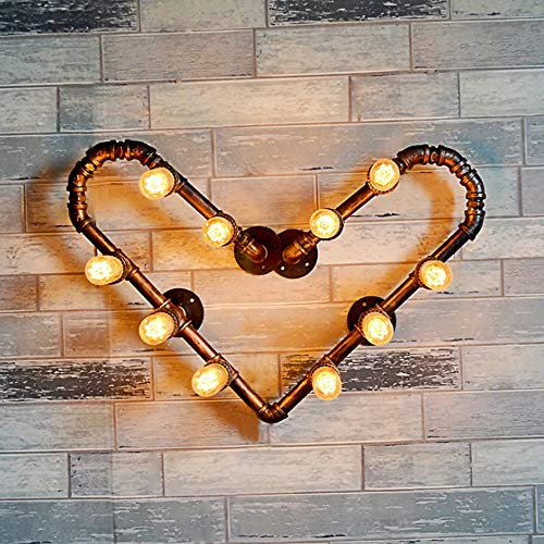 QTRT Viento Industrial Lámpara De Pared Artística De Hierro Lámpara De Pared Retro Americana Luz Del Corazón Creativo Apliques De Agua E27 Lámpara De Iluminación De Estilo Europeo Nostálgico Para Sala