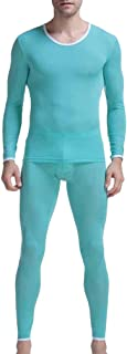 2 Pieces Underwear Light Pajamas Set - Thermal Underwear Functional Underwear for Men, Ski Underwear Suit Breathable Long ...