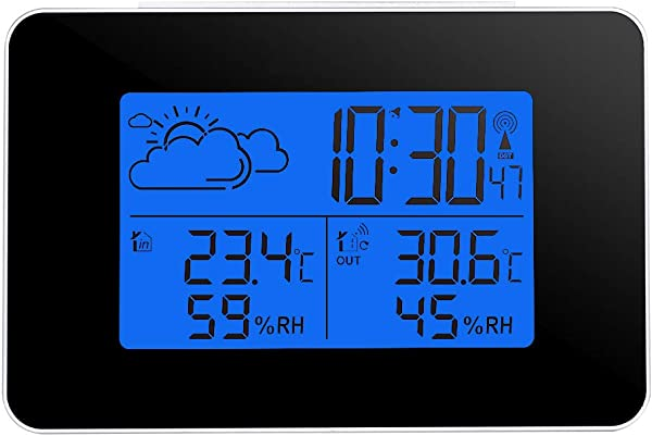 ONEVER Wireless Forecast Station Indoor Outdoor Weather Station Indoor Outdoor Thermometer Wireless Temperature And Humidity Monitor With Backlight Alarm Clock For Home Office
