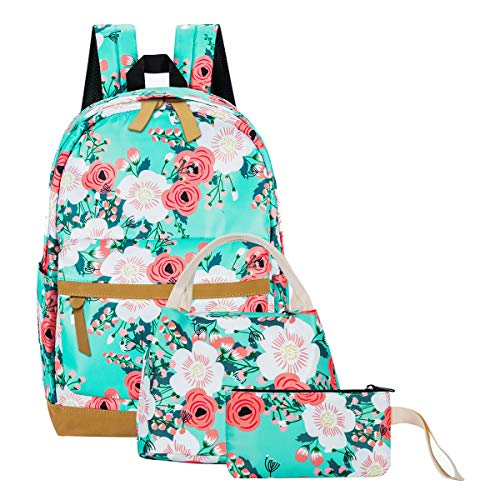 School Backpack for Teen Girls School Bags Lightweight Kids Girls School Book Bags Backpacks Sets (01 Light Green/ Floral)
