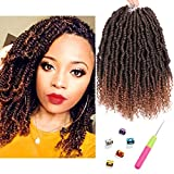 6 Packs Bomb Twist Crochet Hair 12 Inch Spring Twist Crochet Braids Pre-looped Mini Passion Twist Braiding Hair Senegalese Spring Twist Nubian Twist Kinky Curly Synthetic Hair Extensions (T30#)