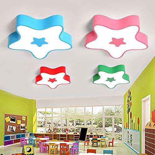 Gekleurde sterren, plafondlamp, kroonluchter voor kleuterschool, klasse LED-lampen, ter bescherming van de ogen, cartoon-tekening, voor kinderkamer, geel, 90 cm, wit licht