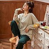 CIDCIJN Pijama para Mujer,Mujeres Pijamas Conjunto Más Tamaño Femme Casual Homewear Loungewear Algodón Ropa De Dormir Dibujos Animados O-Cuello Pijama Pijamas Mujeres, Gris, L