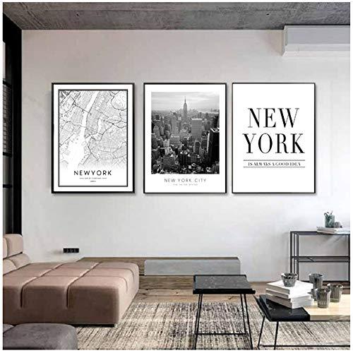 Set Di 3 Pezzi Di Tela Wall Art In Stile Americano Mappa Della Città Di New York Dipinti Su Tela Edificio Foto Wall Art Quadri Poster E Stampe Per Soggiorno Decorazioni Per La Casa 40 * 60 Cm